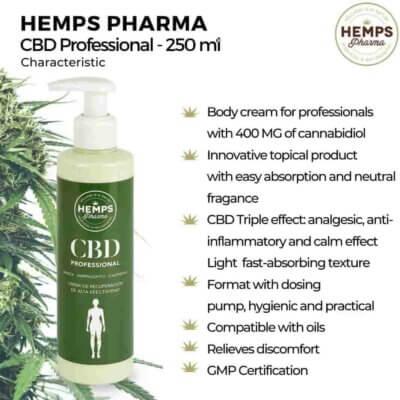 CBD Professional Hemps Pharma 400mg Cannabidiol para Fisioterapia profesional marihuana
